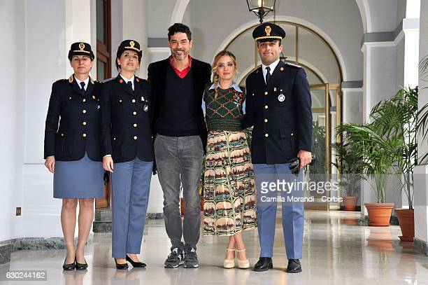Alessandro Gassmannand Carolina Crescentini attends a photocall for 'Bastardi Di Pizzofalcone' Tv Series Photocall on December 19 2016 in Rome Italy