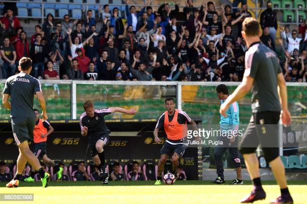 Alessandro Gazzi and Alessandro Diamanti in action during a US Citta' di Palermo training session at Renzo Barbera Stadium on March 30 2017 in...