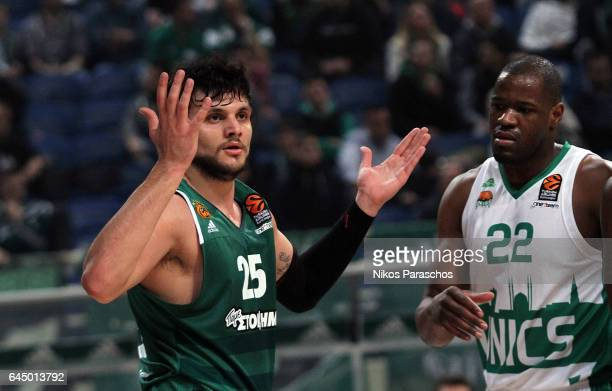 Alessandro Gentile #25 of Panathinaikos Superfoods Athens react during the 2016/2017 Turkish Airlines EuroLeague Regular Season Round 23 game between...