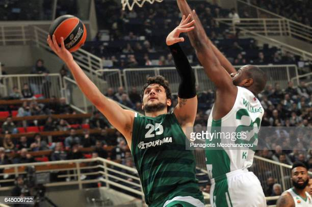 Alessandro Gentile #25 of Panathinaikos Superfoods in action during the 2016/2017 Turkish Airlines EuroLeague Regular Season Round 23 game between...