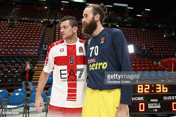 Alessandro Gentile #5 of EA7 Emporio Armani Milan and Luigi Datome #70 of Fenerbahce Istanbul poses before 2016/2017 Turkish Airlines EuroLeague...