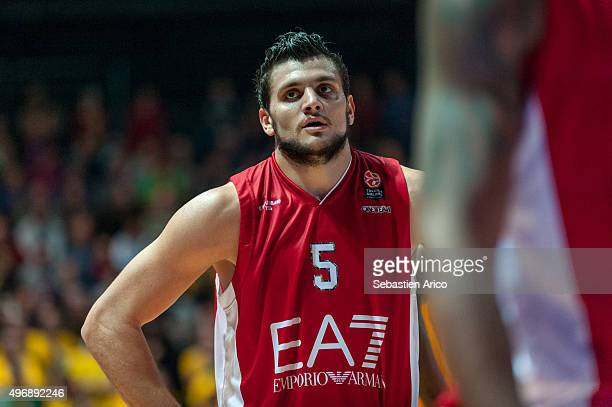 Alessandro Gentile #5 of EA7 Emporio Armani Milan during the Turkish Airlines Euroleague Regular Season date 5 game between Limoges CSP v EA7 Emporio...