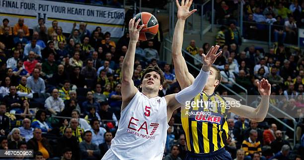 Alessandro Gentile #5 of EA7 Emporio Armani Milan in action during the Turkish Airlines Euroleague Basketball Top 16 Date 11 game between Fenerbahce...