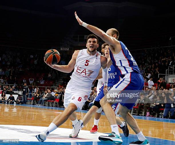 Alessandro Gentile #5 of EA7 Emporio Armani Milan in action during the Turkish Airlines Euroleague Basketball Top 16 Date 13 game between Anadolu...