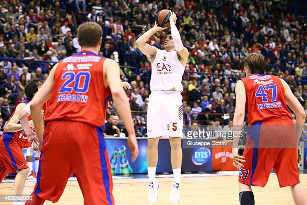 Alessandro Gentile #5 of EA7 Emporio Armani Milan in action during the Turkish Airlines Euroleague Basketball Top 16 Date 14 game between EA7 Emporio...