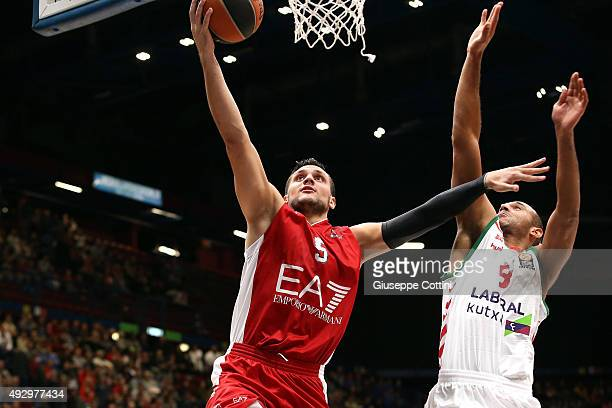 Alessandro Gentile #5 of EA7 Emporio Armani Milan in action during the Turkish Airlines Euroleague Basketball Regular Season Date 1 game EA7 Emporio...