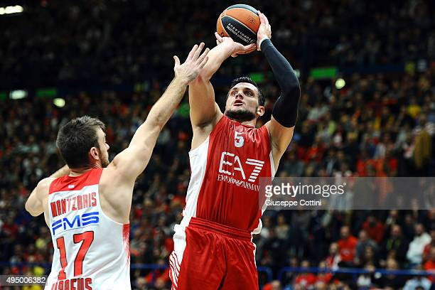 Alessandro Gentile #5 of EA7 Emporio Armani Milan in action during the Turkish Airlines Euroleague Regular Season date 3 game between EA7 Emporio...