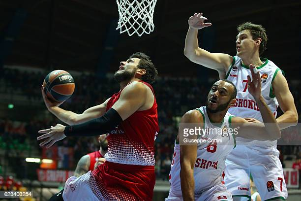 Alessandro Gentile #5 of EA7 Emporio Armani Milan in action during the 2016/2017 Turkish Airlines EuroLeague Regular Season Round 7 game between EA7...