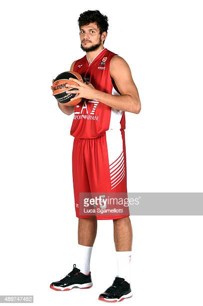 Alessandro Gentile #5 of EA7 Emporio Armani Milan poses during the 2015/2016 Turkish Airlines Euroleague Basketball Media Day at Mediolanumforum on...