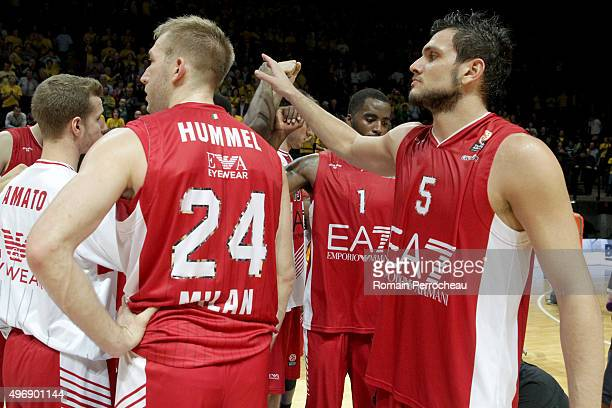 Alessandro Gentile for EA7 Emporio Armani Milan congrats his partners after the Turkish Airlines Euroleague regular season date 5 game between CSP...