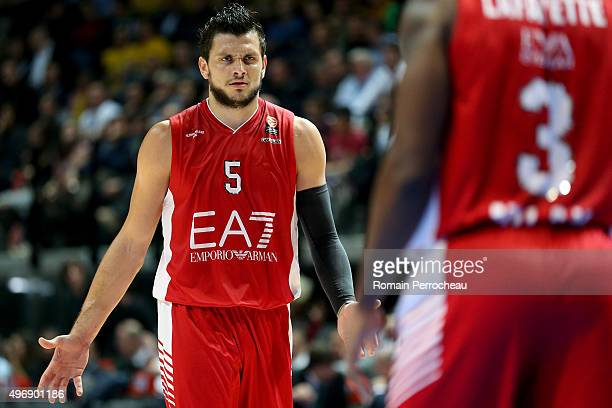 Alessandro Gentile for EA7 Emporio Armani Milan gestures during the Turkish Airlines Euroleague regular season date 5 game between CSP Limoges and...