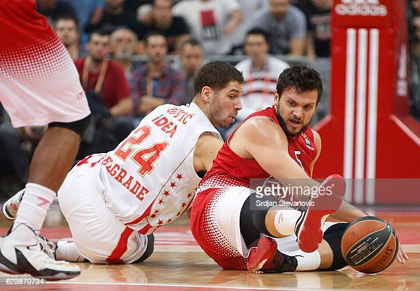 Alessandro Gentile of Armani competes for the ball aginst Stefan Jovic of Crvena Zvezda during the 2016/2017 Turkish Airlines EuroLeague Regular...