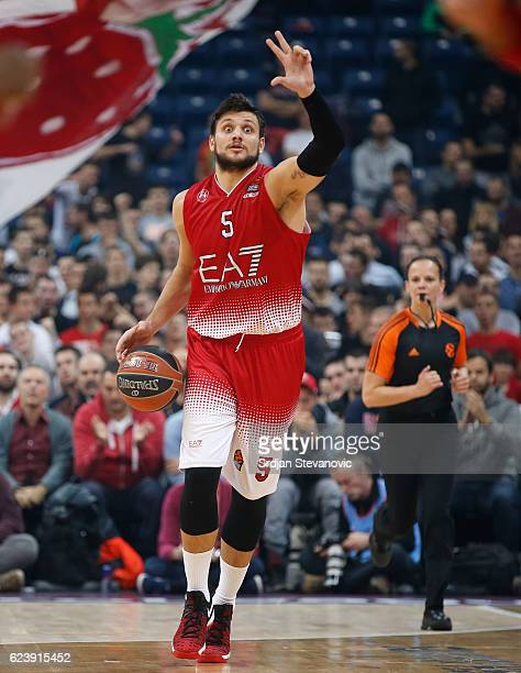 Alessandro Gentile of Armani in action during the 2016/2017 Turkish Airlines EuroLeague Regular Season Round 8 game between Crvena Zvezda MTS...