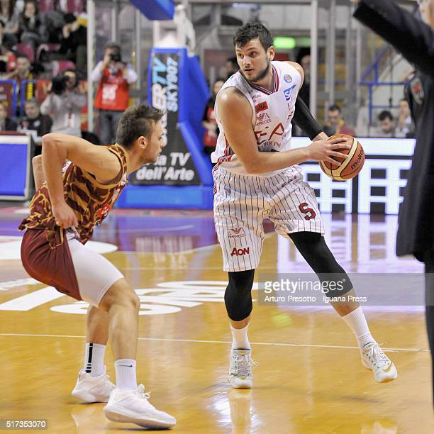 Alessandro Gentile of EA7 competes with Stefano Tonut of Umana during the LegaBsaket Serie A match between Reyer Umana Venezia and EA7 Emporio Armani...