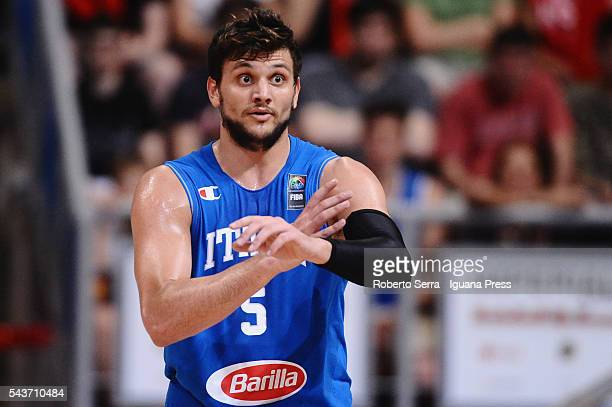 Alessandro Gentile of Italy Basketball National Team looks over during the friendly match between Italy and Canada at PalaDozza on June 26 2016 in...