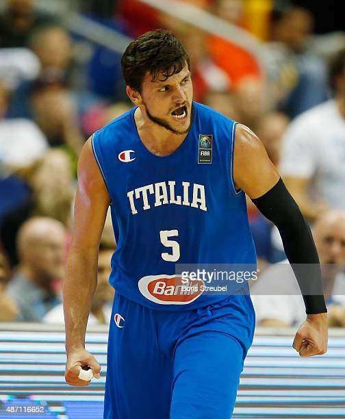 Alessandro Gentile of Italy celebrates during the FIBA EuroBasket 2015 Group B basketball match between Iceland and Italy at Arena of EuroBasket 2015...