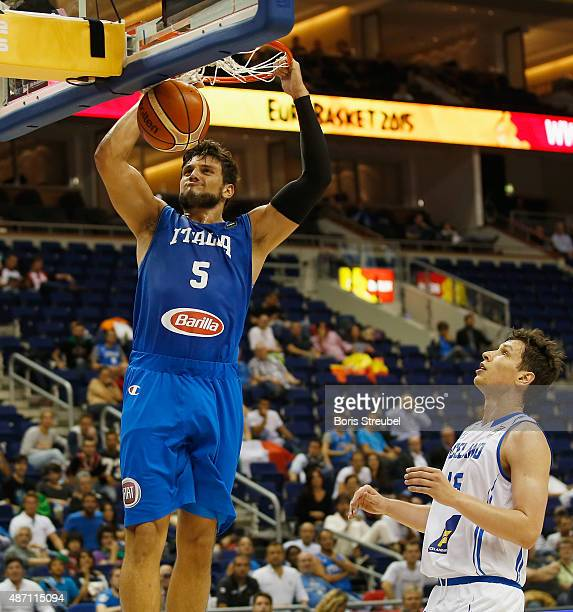 Alessandro Gentile of Italy dunks the ball during the FIBA EuroBasket 2015 Group B basketball match between Iceland and Italy at Arena of EuroBasket...