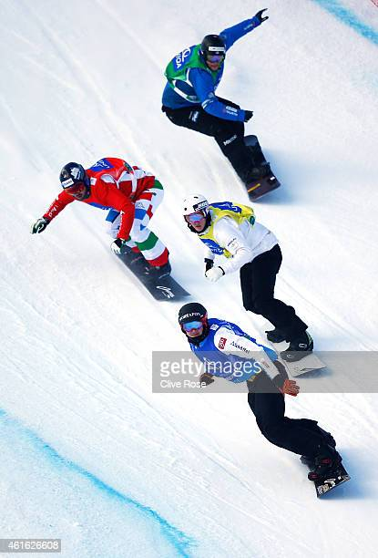 Alessandro Haemmerle of Austria leads Jarryd Hughes of Australia Leoni Tommaso and Konstantin Leoni of Germany during the Eight Final round of the...