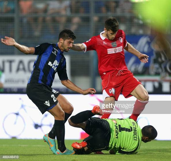 Alessandro Iacobucci of Latina competes for the ball with Joao Silva of Bari during the Serie B playoff match between US Latina and AS Bari at Stadio...
