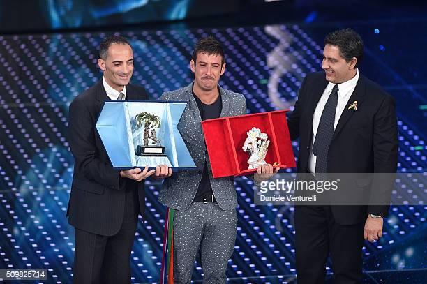 Alessandro Il Grande Giovanni Toti and italian singer Francesco Gabbani winner of Nuove Proposte category of the 66th Italian Music Festival in...