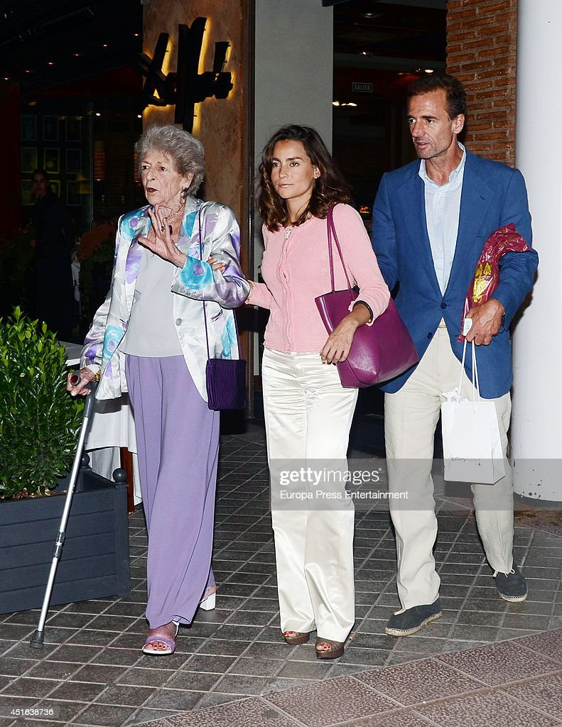 Alessandro Lequio, his mother Sandra Torlonia and his wife Maria Palacios are seen on June 18, 2014 in Madrid, Spain.