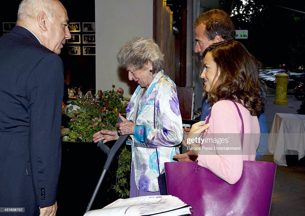 Alessandro Lequio (2R), his mother Sandra Torlonia and his wife Maria Palacios are seen on June 18, 2014 in Madrid, Spain.