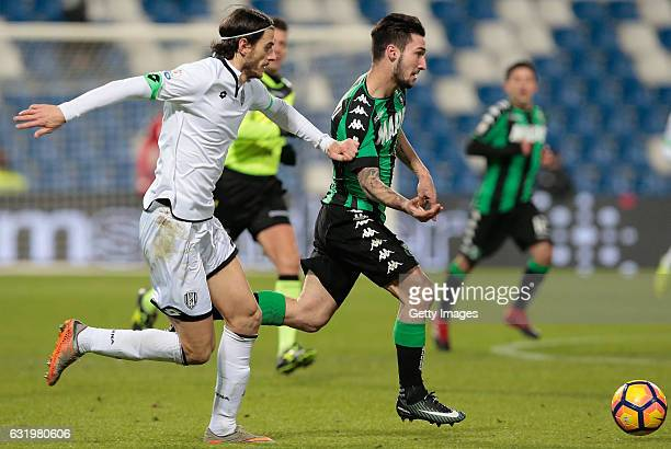 Alessandro Ligi of AC Cesena competes for the ball with Matteo Politano of US Sassuolo Calcio during the TIM Cup match between US Sassuolo and AC...