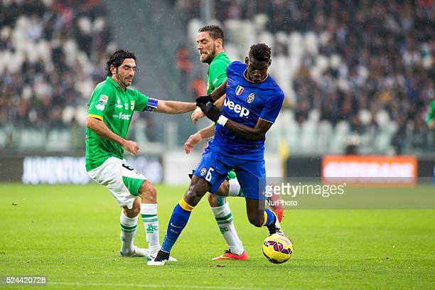 Alessandro Lucarelli Andrea Rispoli and Paul Pogba during the Serie A match between Juventus FC and Parma FC at Juventus Stafium on november 9 2014...