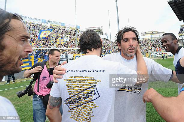 Alessandro Lucarelli captain of Parma celebrates after the Serie D match between Parma Calcio 1913 and Delta Rovigo at Stadio Tardini on April 17...