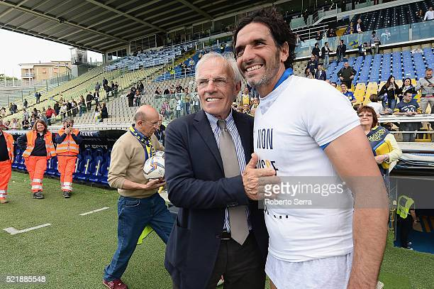 Alessandro Lucarelli captain of Parma celebrates with Nevio Scala president of Parma after the Serie D match between Parma Calcio 1913 and Delta...