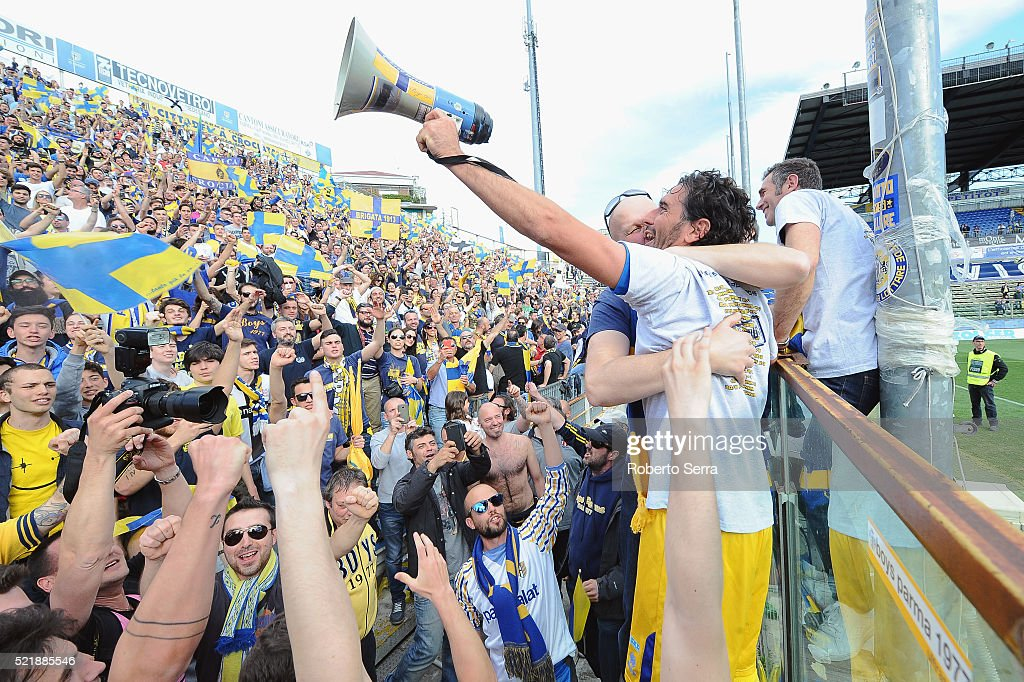 Alessandro Lucarelli captain of Parma celebrates with supporters after the Serie D match between Parma Calcio 1913 and Delta Rovigo at Stadio Tardini...