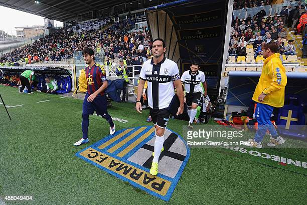 Alessandro Lucarelli leads the Parma Calcio 1913 during the Serie D match between Parma Calcio 1913 and Villafranca Veronese at Stadio Ennio Tardini...