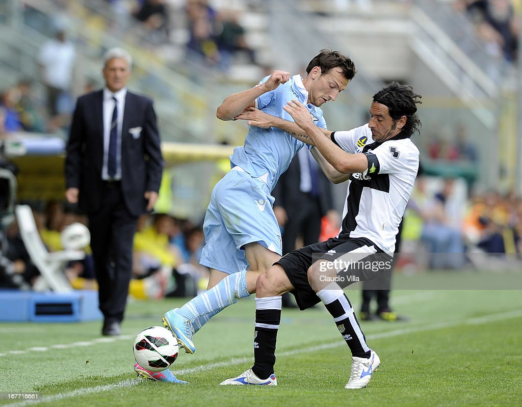 Alessandro Lucarelli of Parma FC and Libor Kozak of S.S. Lazio (L) compete for the ball during the Serie A match between Parma FC and S.S. Lazio at Stadio Ennio Tardini on April 28, 2013 in Parma, Italy.