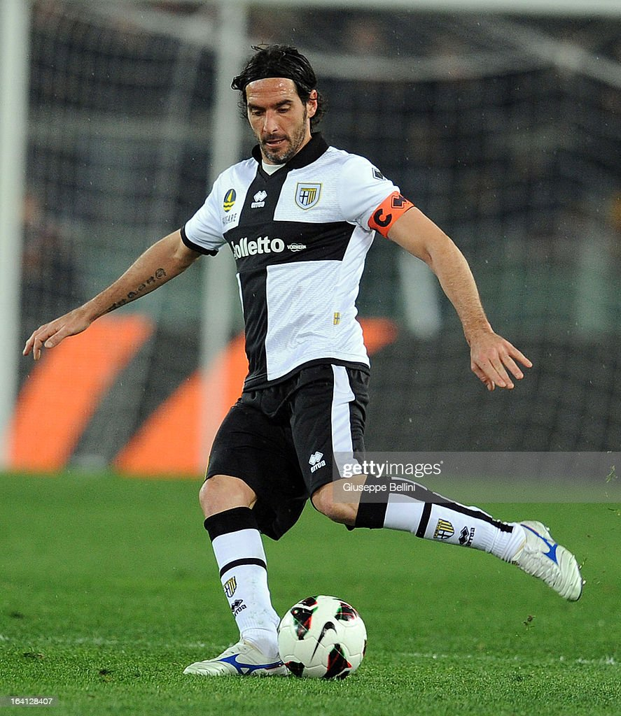 Alessandro Lucarelli of Parma in action during the Serie A match between AS Roma and Parma FC at Stadio Olimpico on March 17, 2013 in Rome, Italy.