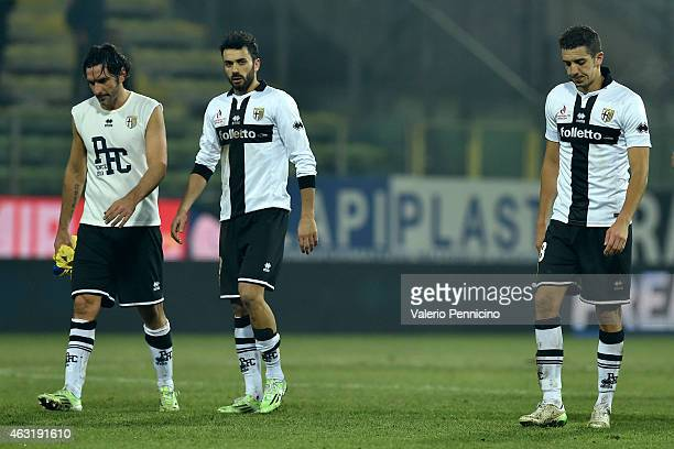 Alessandro Lucarelli Raffaele Palladino and Zouhair Feddal of Parma FC look dejected at the end of the Serie A match between Parma FC and AC Chievo...