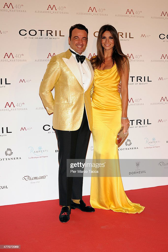 Alessandro Maroana and Alessia Ventura attend the Alessandro Martorana birthday party at Four Seasons Hotel on March 6 2014 in Milan Italy