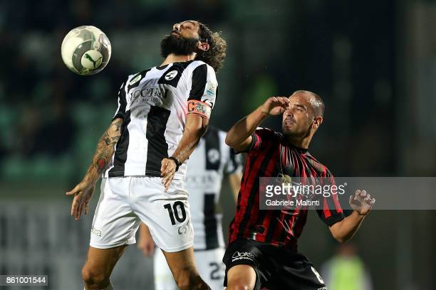 Alessandro Marotta of Robur Siena battles for the ball with Juncal Jonatan Aspas of Pro Piacenza during the Serie Lega Pro match between Robur Siena...