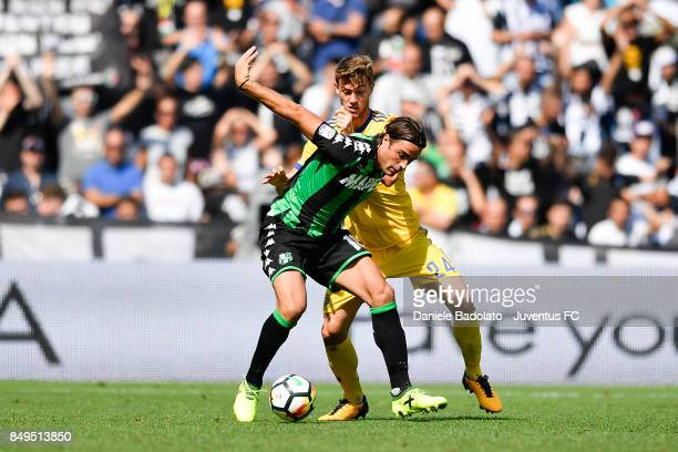 Alessandro Matri and Daniele Rugani during the Serie A match between US Sassuolo and Juventus at Mapei Stadium Citta' del Tricolore on September 17...