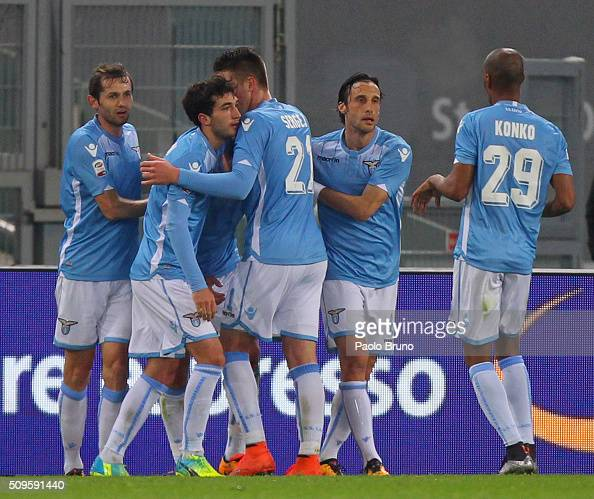 Alessandro Matri celebrates with his team mates of SS Lazio after scoring the opening goal during the Serie A match between SS Lazio and Hellas...
