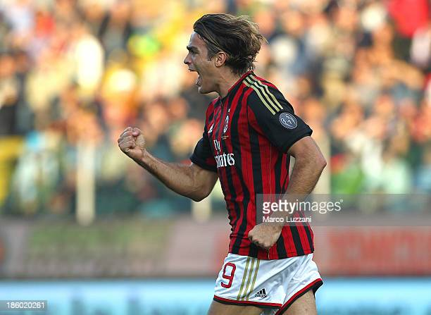 Alessandro Matri of AC Milan celebrates his goal during the Serie A match between Parma FC and AC Milan at Stadio Ennio Tardini on October 27 2013 in...