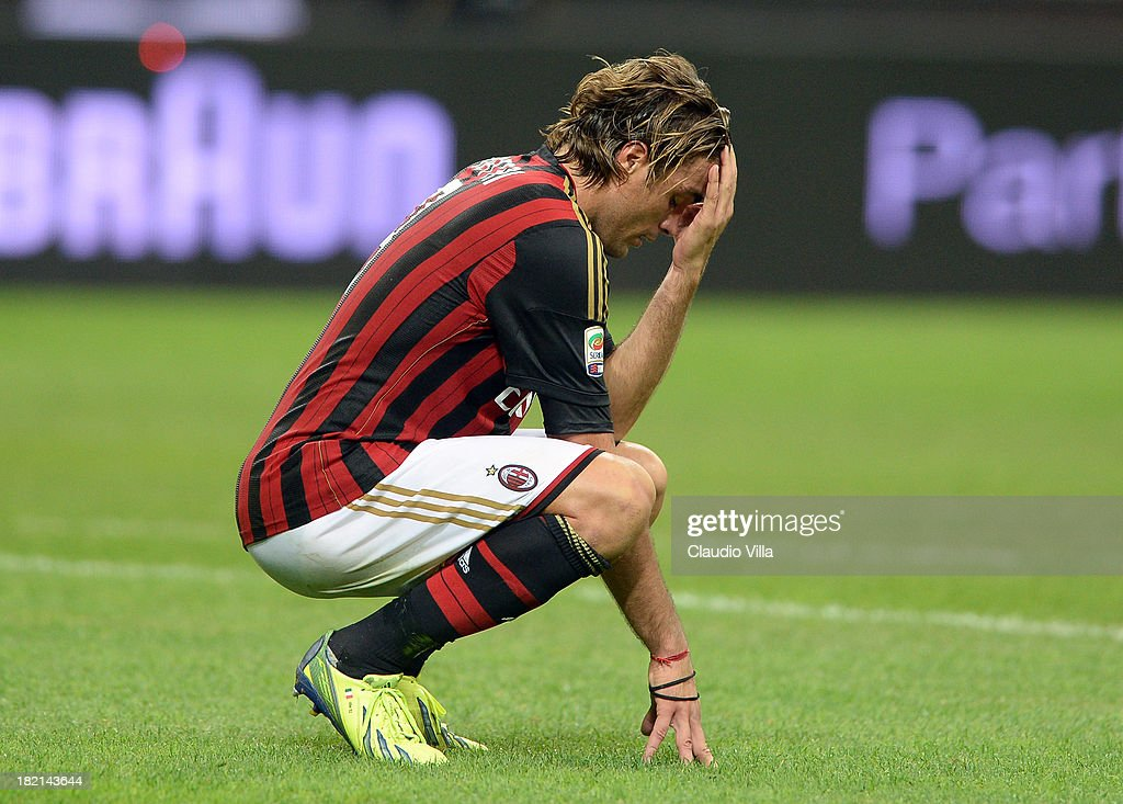 <a gi-track='captionPersonalityLinkClicked' href=/galleries/search?phrase=Alessandro+Matri&family=editorial&specificpeople=4501520 ng-click='$event.stopPropagation()'>Alessandro Matri</a> of AC Milan dejected during the Serie A match between AC Milan and UC Sampdoria at Stadio Giuseppe Meazza on September 28, 2013 in Milan, Italy.