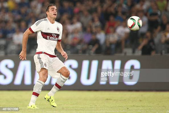 Alessandro Matri of AC Milan drives the ball during the International Champions Cup match between AC Milan and Inter Milan at Longgang Sports Center...