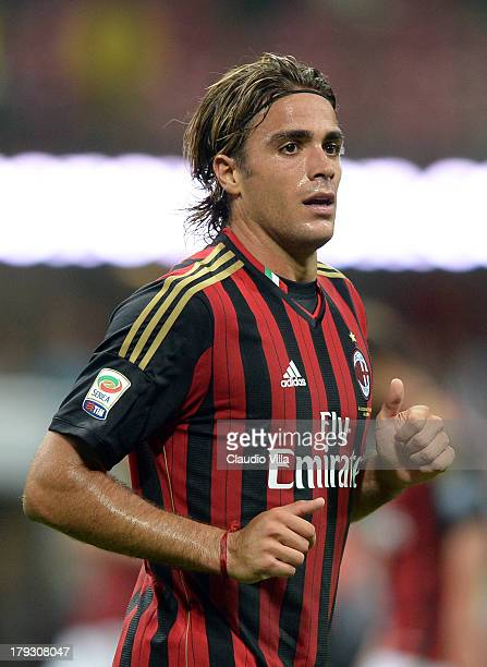 Alessandro Matri of AC Milan during the Serie A match between AC Milan and Cagliari Calcio at San Siro Stadium on September 1 2013 in Milan Italy