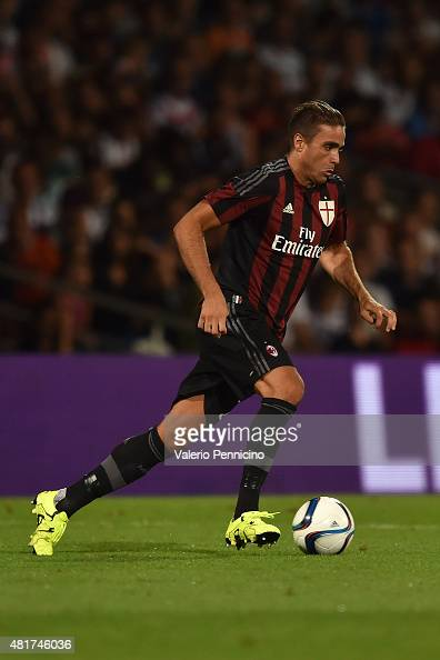 Alessandro Matri of AC Milan in action during the preseason friendly match between Olympique Lyonnais and AC MIlan at Gerland Stadium on July 18 2015...