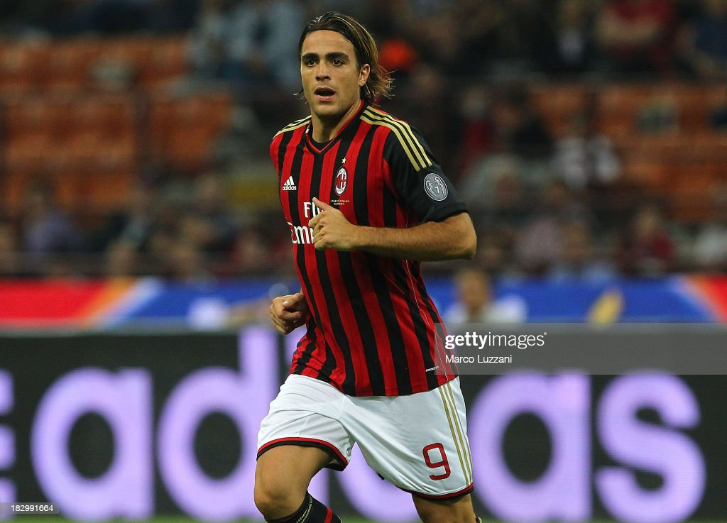 <a gi-track='captionPersonalityLinkClicked' href=/galleries/search?phrase=Alessandro+Matri&family=editorial&specificpeople=4501520 ng-click='$event.stopPropagation()'>Alessandro Matri</a> of AC Milan in action during the Serie A match between AC Milan and UC Sampdoria at Stadio Giuseppe Meazza on September 28, 2013 in Milan, Italy.