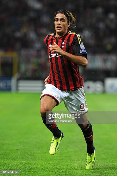 Alessandro Matri of AC Milan looks on during the UEFA Champions League group H match between AC Milan and Celtic at Stadio Giuseppe Meazza on...