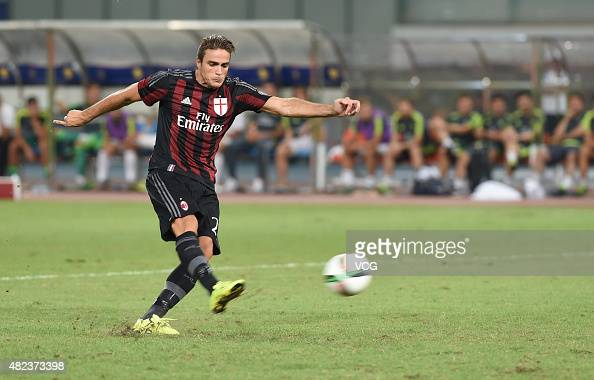 Alessandro Matri of AC Milan scores the second penalty kick at the penalty shootout during the International Champions Cup football match between AC...