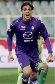 Alessandro Matri of ACF Fiorentina celebrates after scoring the team's second goal during the Serie A match between ACF Fiorentina and AC Chievo...