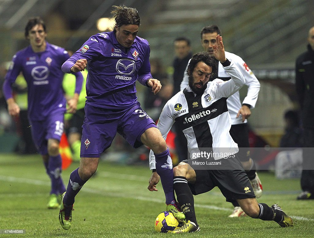 <a gi-track='captionPersonalityLinkClicked' href=/galleries/search?phrase=Alessandro+Matri&family=editorial&specificpeople=4501520 ng-click='$event.stopPropagation()'>Alessandro Matri</a> of ACF Fiorentina competes for the ball with <a gi-track='captionPersonalityLinkClicked' href=/galleries/search?phrase=Mattia+Cassani&family=editorial&specificpeople=4025157 ng-click='$event.stopPropagation()'>Mattia Cassani</a> of Parma FC during the Serie A match between Parma FC and ACF Fiorentina at Stadio Ennio Tardini on February 24, 2014 in Parma, Italy.