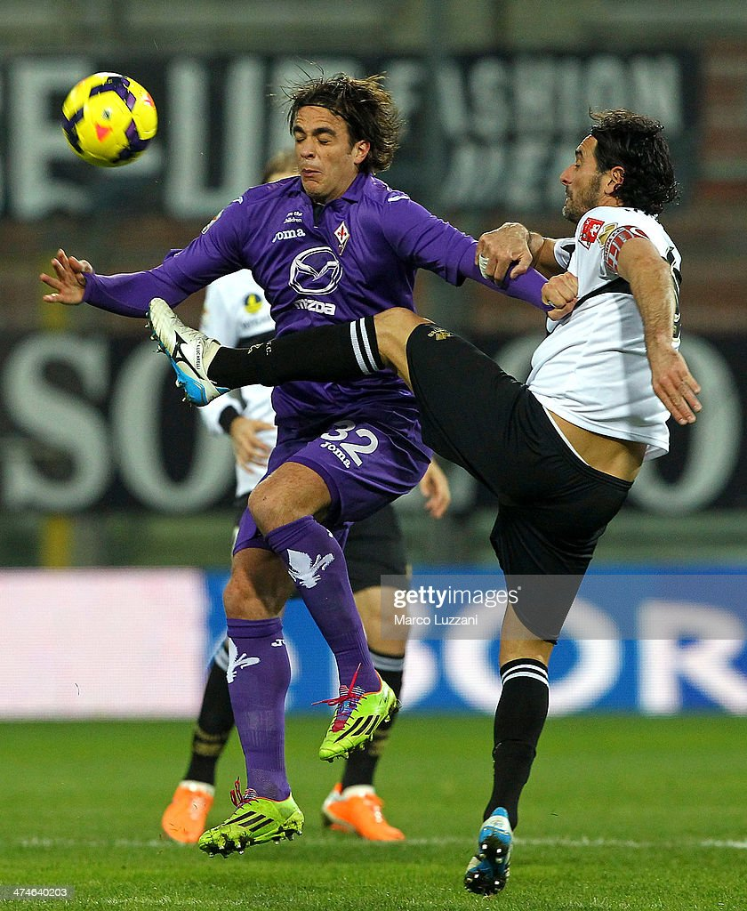 Alessandro Matri of ACF Fiorentina competes for the ball with Alessandro Lucarelli of Parma FC during the Serie A match between Parma FC and ACF Fiorentina at Stadio Ennio Tardini on February 24, 2014 in Parma, Italy.